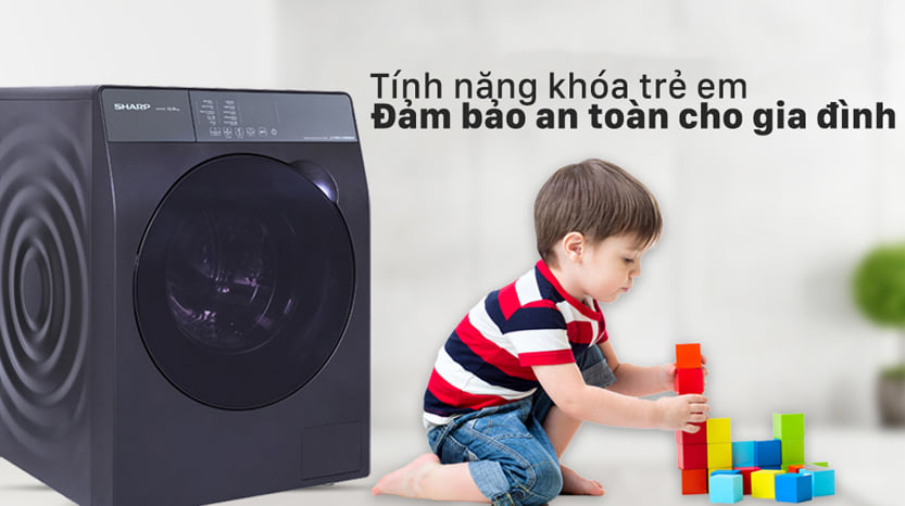 Máy giặt Sharp ES-FK1054PV-S Inverter 10.5 Kg (lồng ngang) 5