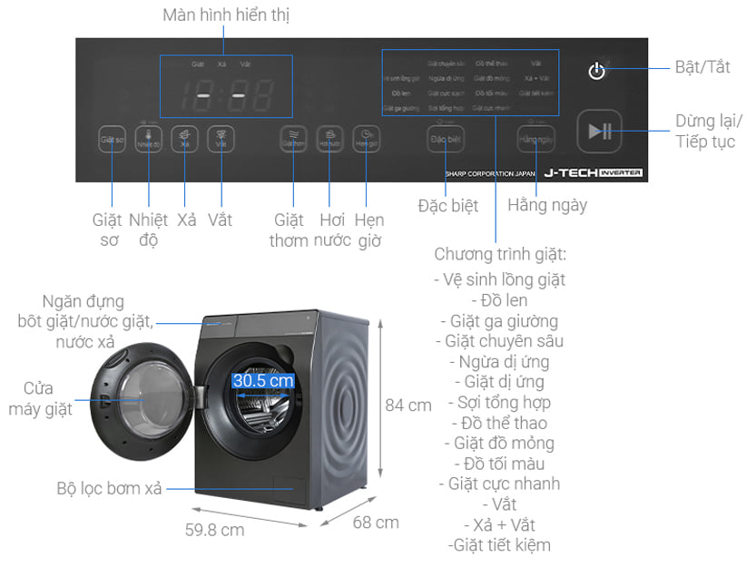 Máy giặt Sharp ES-FK1252PV-S Inverter 12.5 Kg (lồng ngang) 4